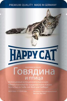 Паучи Happy Cat для кошек с говядиной и птицей 100г