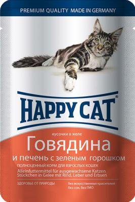 Паучи Happy Cat для кошек с говядиной и печенью 100г